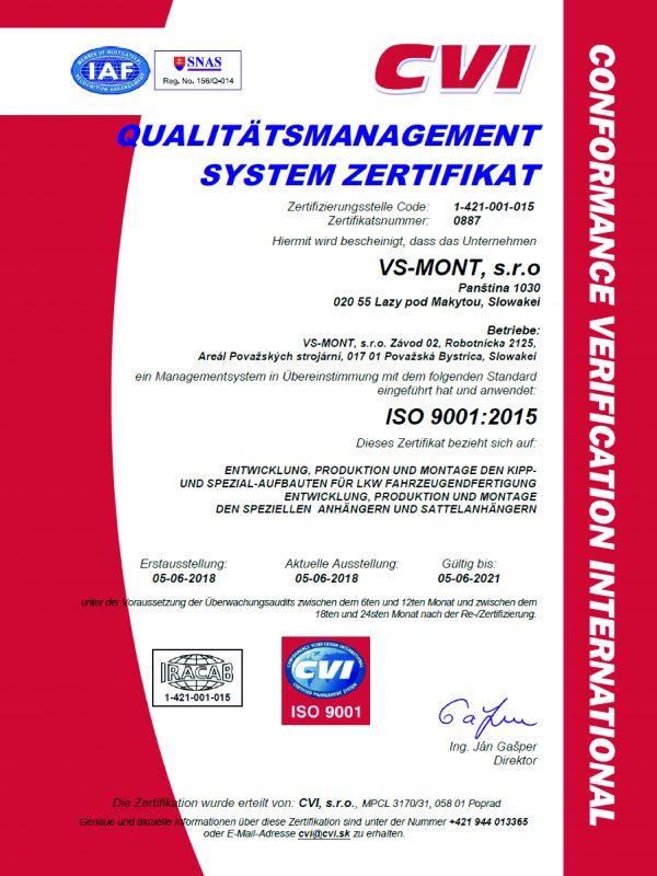 Certifikát ISO 9001_2015 DE
