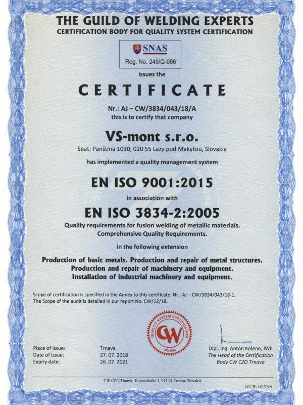 Zváračský certifikát AJ
