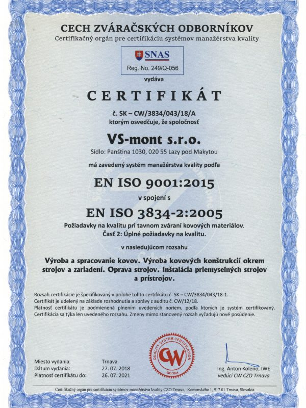 Zváračský certifikát SK