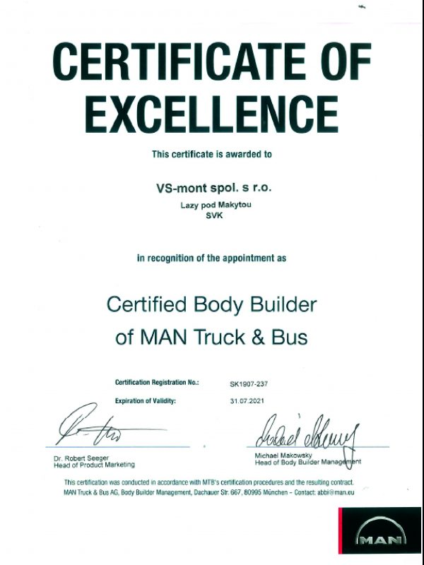 certifikat MAN